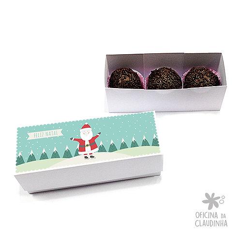 Caixa para 3 doces - Papai Noel feliz na neve
