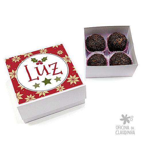 Caixa para 4 doces - Natal 01 - Luz - Tradicional