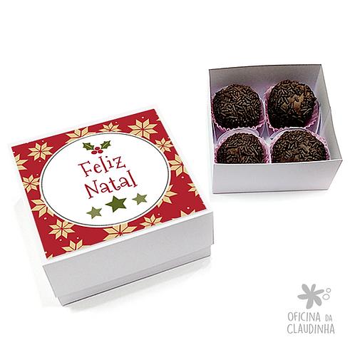 Caixa para 4 doces - Festa de Natal 02 - Tradicional
