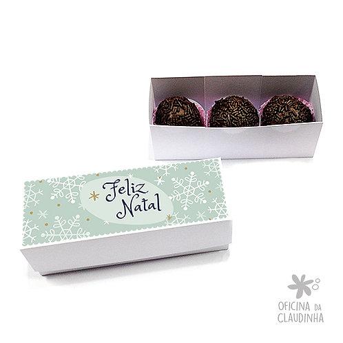 Caixa para 3 doces - Flocos de Neve de Natal