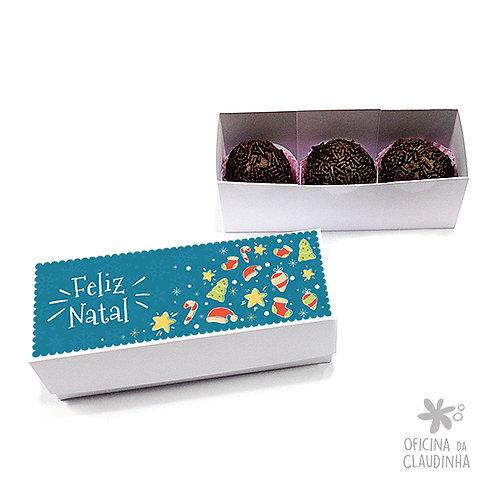 Caixa para 3 doces - Natal Azul