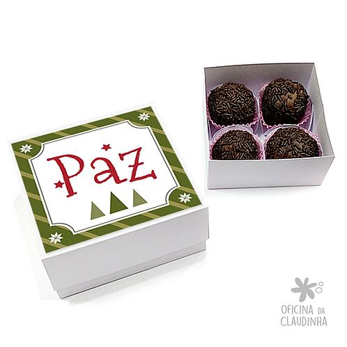Caixa para 4 doces - Natal 02 - Paz - Tradicional