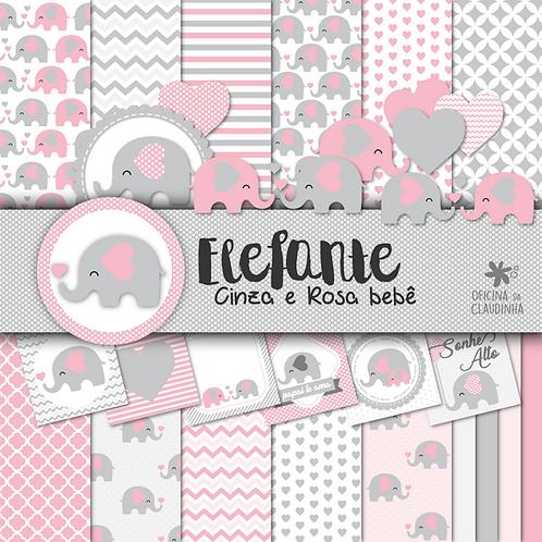 Elefante cinza e rosa bebê | Papéis digitais