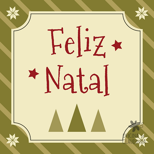 Card Feliz Natal 01 - Vintage Vermelho e Verde