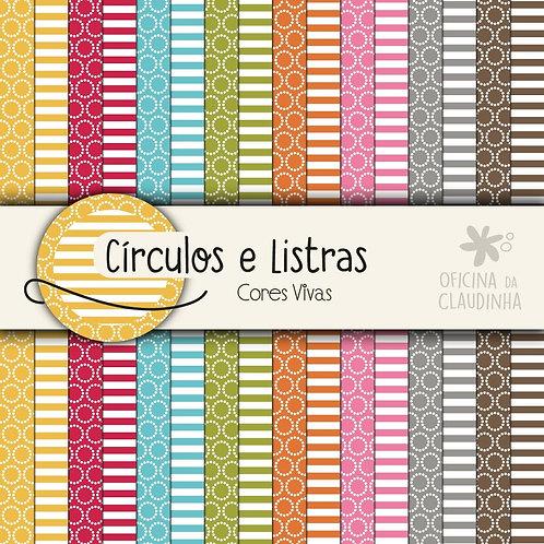 Círculos e listras - Cores vivas | Papéis impressos