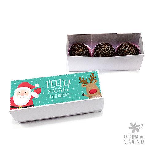 Caixa para 3 doces - Papai Noel e Rena