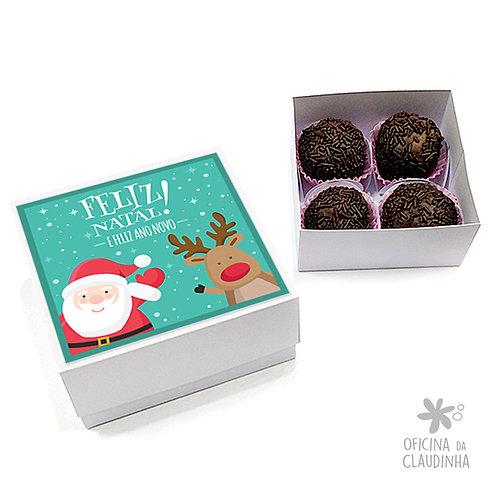 Caixa para 4 doces - Papai Noel e Rena