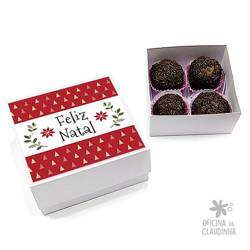 Caixa para 4 doces - Festa de Natal 05 - Tradicional