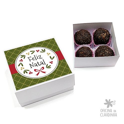 Caixa para 4 doces - Festa de Natal 06 - Tradicional