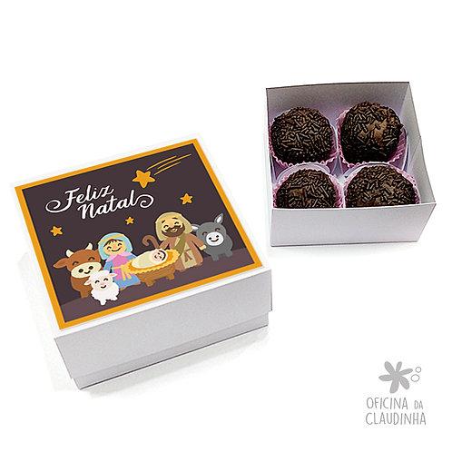 Caixa para 4 doces - Cena Natalina