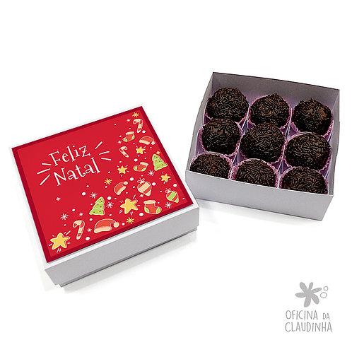 Caixa para 9 doces - Natal Vermelho