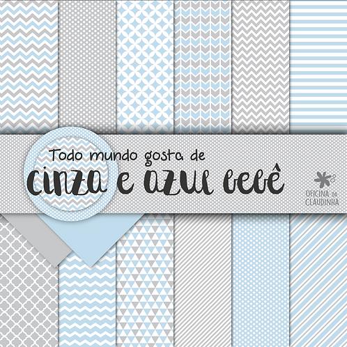 Todo mundo ama cinza e azul bebê | Papéis digitais
