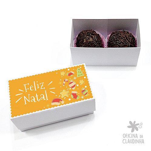 Caixa para 2 doces - Natal Amarelo