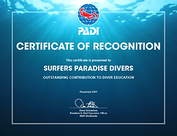 PADI scuba diving certificate Gold Coast