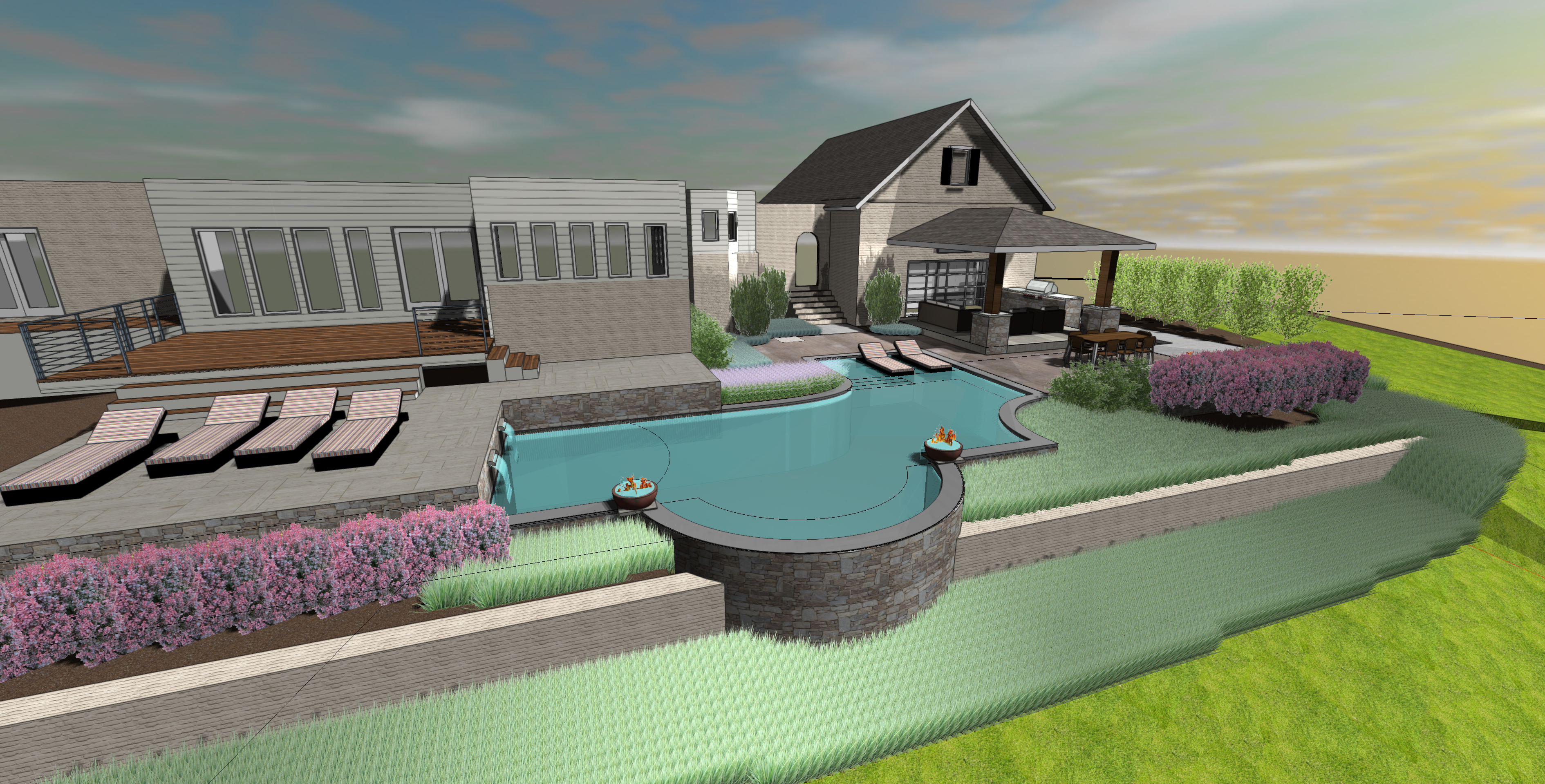 3D Pool Design Back View