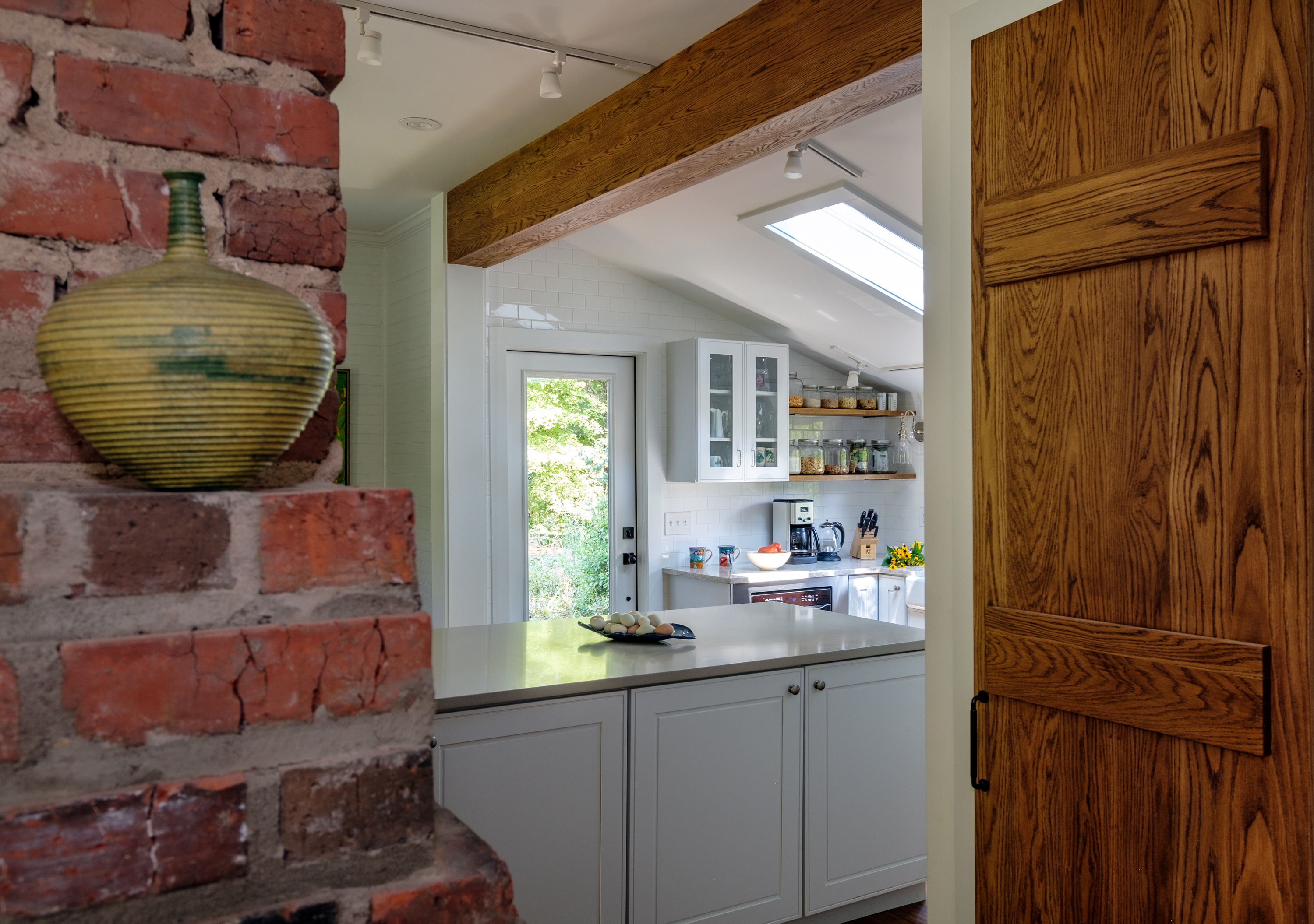 Kitchen - Framed by fireplace and pantry