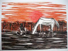 DEVANEIOS COM UM AMIGO  Obra do 1º Salão de Artes de Mogi Inauguração Centro Cultural de Mogi das Cruzes (Xilogravura)