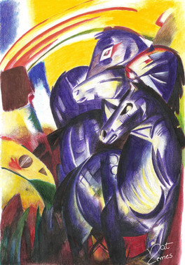 "ESTUDO DA OBRA ""THE TOWER OF BLUE HORSES"" DE FRANZ MARC  Tinta Acrílica"