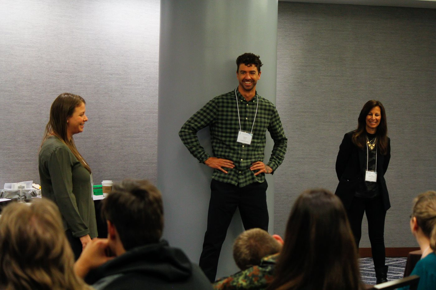 Jen Zwilling, Anthony Ervin, and Jane Zwilling, Psy.D. at the Youth Ambassador training