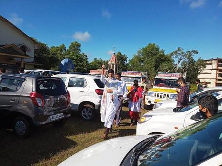 Vehicles blessing at Bela Church
