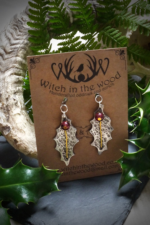 Holly and Garnet earrings