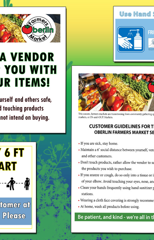 Updated COVID signs for Oberlin Farmers Market