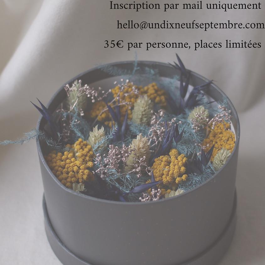 Atelier boite fleurie en fleurs séchées
