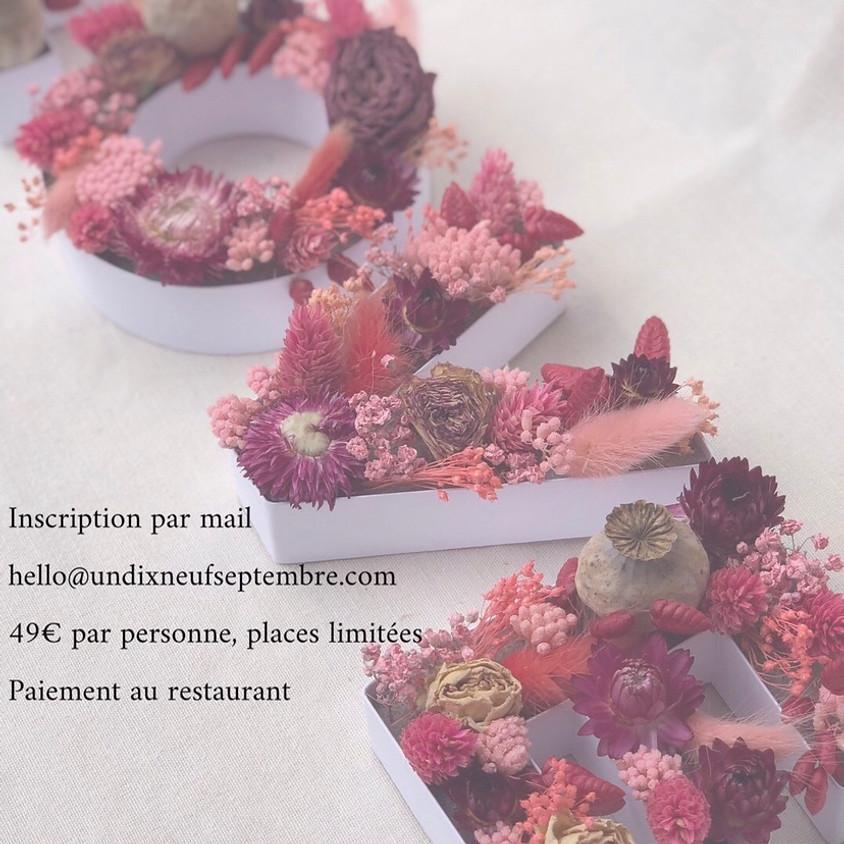 Atelier lettre en fleurs séchées chez Valentine