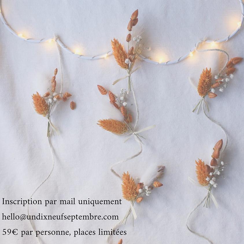 Atelier suspention nuage en fleurs séchées