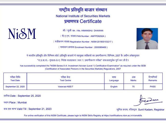 Himanshu Dhawan - NISM XA