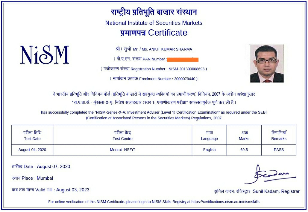 Ankit Sharma - NISM XA