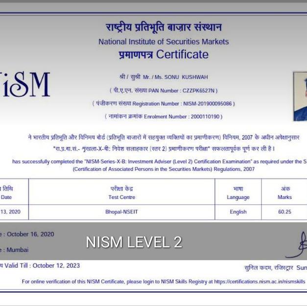 Sonu Kushwah - NISM XB