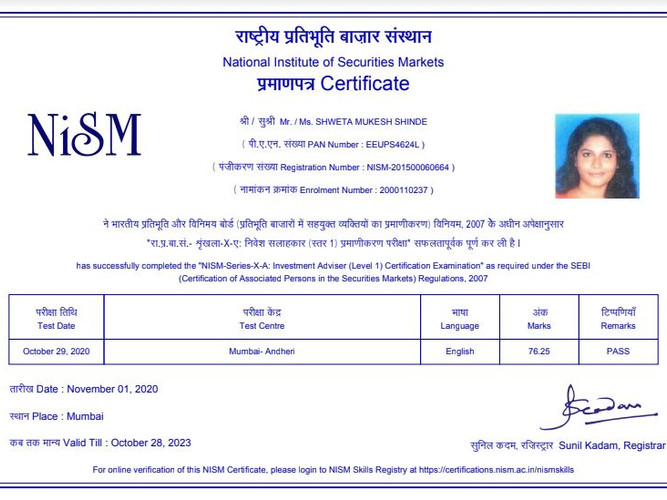 Shweta Shinde - NISM XA