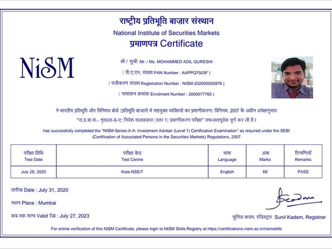 Adil Qureshi - NISM XA