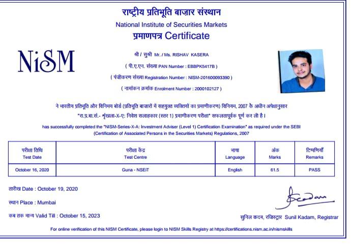 Rishav Kasera - NISM XA