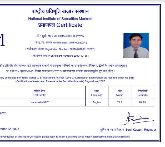 Himanshu Dhawan - NISM XB