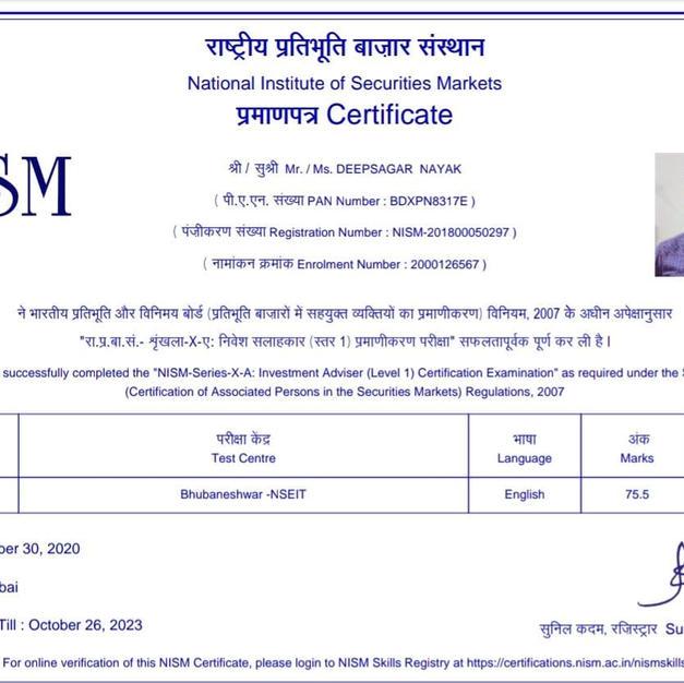 Deepsagar Nayak - NISM XA