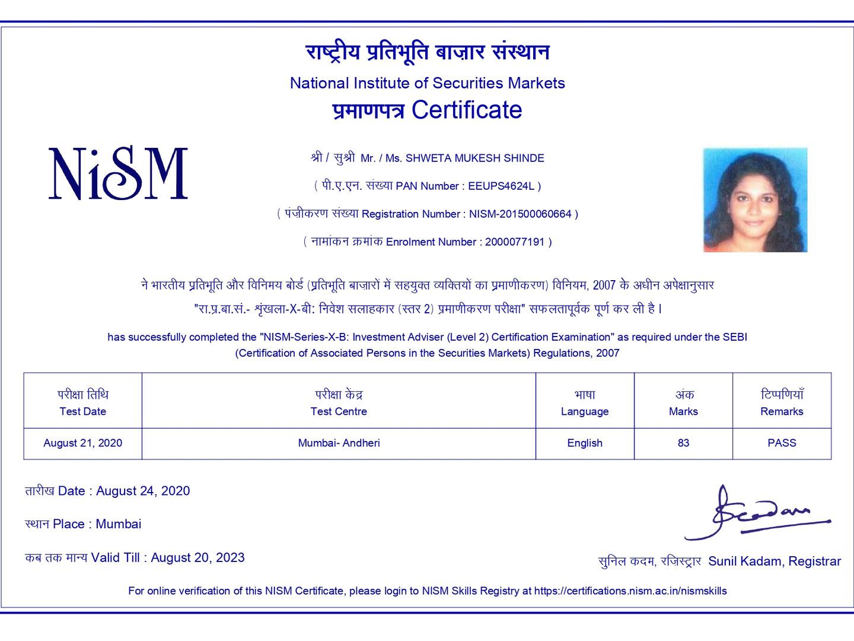 Shweta Shinde - NISM XB