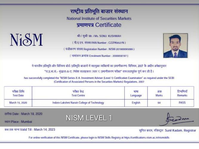 Sonu Kushwah - NISM XA