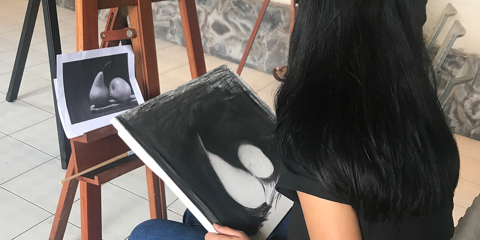 Still life painting with charcoal on canvas