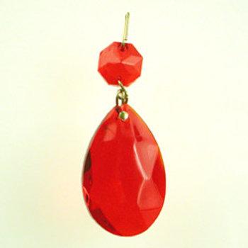 Color almond half-cut crystal prism red