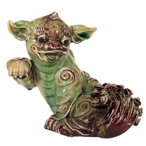Antique Ceramic Chinese Foo Dog in Jade Color Glaze