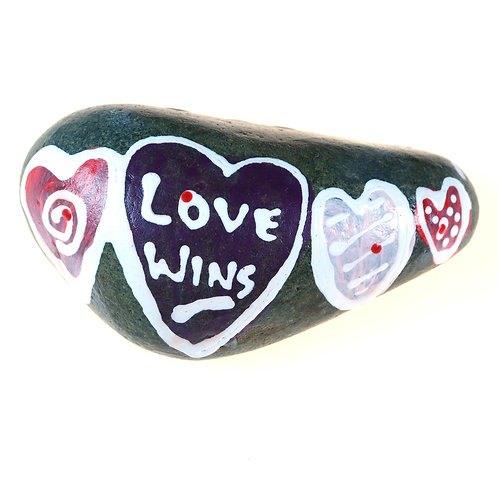 """Love Wins"" hand-painted rock with inspirational message"