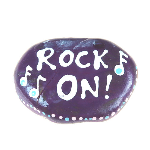 """Rock On!"" Inspirational hand-painted rock"