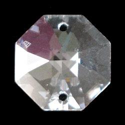 Swarovski single octagon jewel crystal prism lily cut, 2 hole, clear