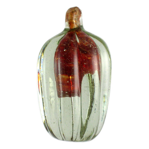 "Murano solid glass fluted ""pumpkin"" with inclusion"