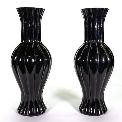 Black Glass Ribbed Vases, Sold As A Pair