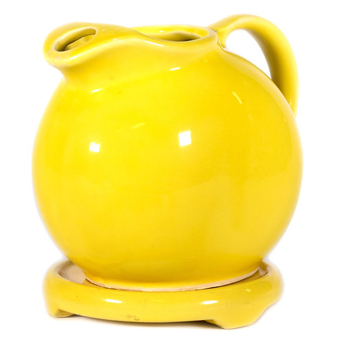 Cute Yellow Ceramic Pitcher with Matching Stand for Kitchen Decor