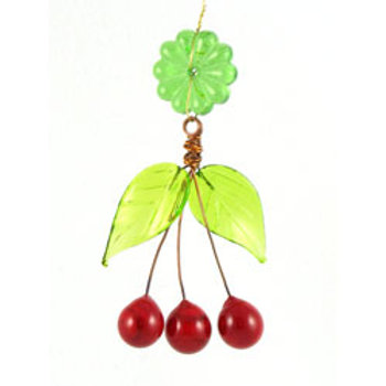 Glass cherry cluster with glass leaves