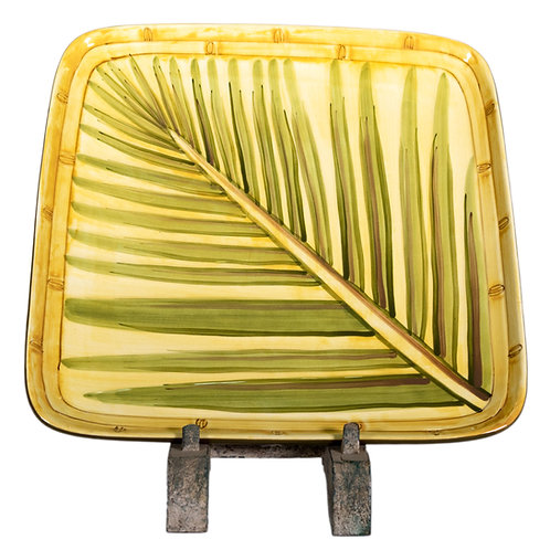 Square Dinner Plates, Yellow with Bamboo and Green Palm Motif